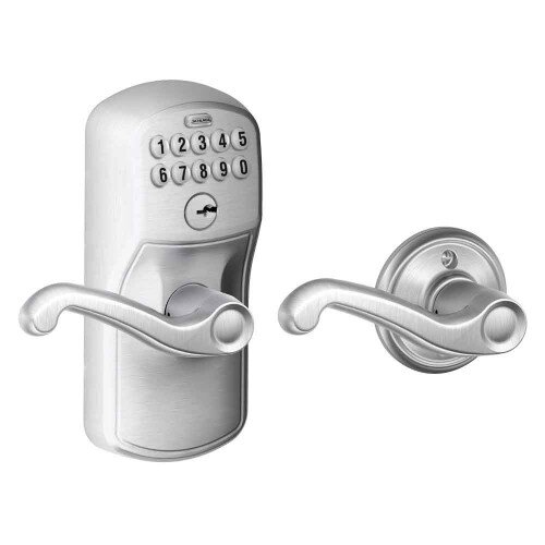 Schlage Keypad Lever with Plymouth Trim and Flair Lever with Auto Lock - Satin Chrome