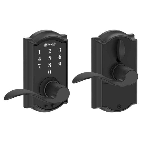Schlage Touch Keyless Touchscreen Lever with Camelot Trim and Accent Lever - Matte Black