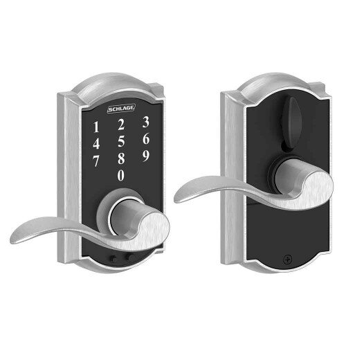 Schlage Touch Keyless Touchscreen Lever with Camelot Trim and Accent Lever - Satin Chrome