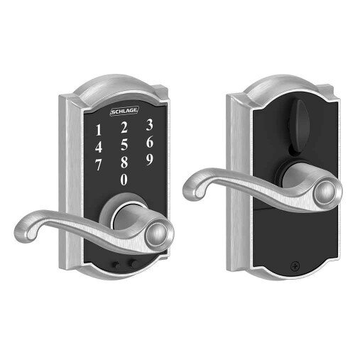 Schlage Touch Keyless Touchscreen Lever with Camelot Trim and Flair Lever - Satin Chrome