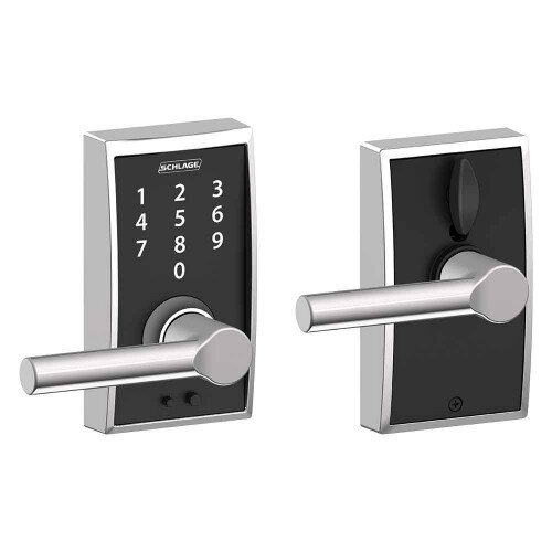 Schlage Touch Keyless Touchscreen Lever with Century Trim and Broadway Lever - Bright Chrome