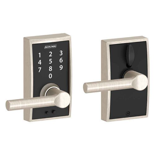 Schlage Touch Keyless Touchscreen Lever with Century Trim and Broadway Lever - Satin Nickel