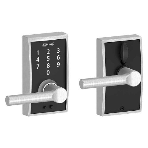 Schlage Touch Keyless Touchscreen Lever with Century Trim and Broadway Lever - Satin Chrome