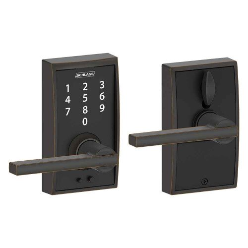 Schlage Touch Keyless Touchscreen Lever with Century Trim and Latitude Lever - Aged Bronze