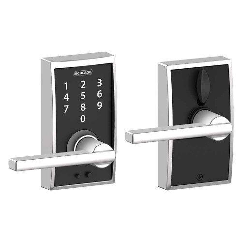 Schlage Touch Keyless Touchscreen Lever with Century Trim and Latitude Lever - Bright Chrome
