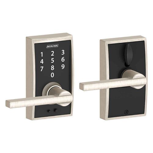 Schlage Touch Keyless Touchscreen Lever with Century Trim and Latitude Lever - Satin Nickel