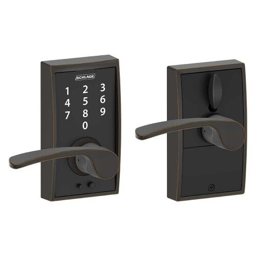 Schlage Touch Keyless Touchscreen Lever with Century Trim and Merano Lever - Aged Bronze