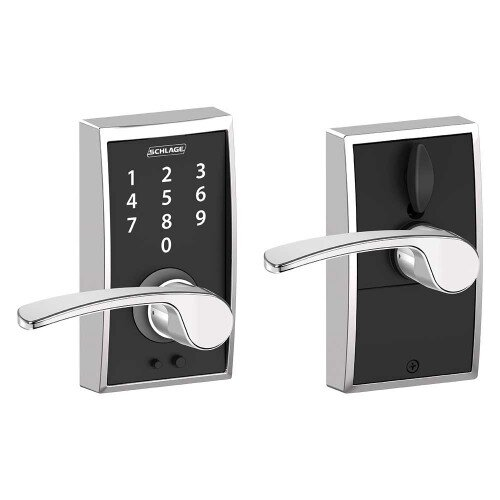 Schlage Touch Keyless Touchscreen Lever with Century Trim and Merano Lever - Bright Chrome