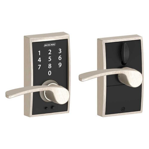 Schlage Touch Keyless Touchscreen Lever with Century Trim and Merano Lever - Satin Nickel