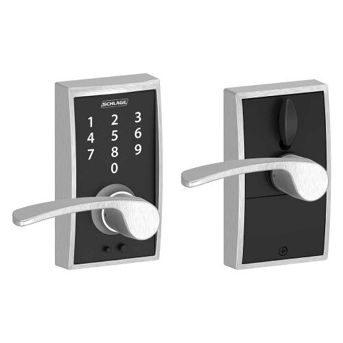 Schlage Touch Keyless Touchscreen Lever with Century Trim and Merano Lever - Satin Chrome