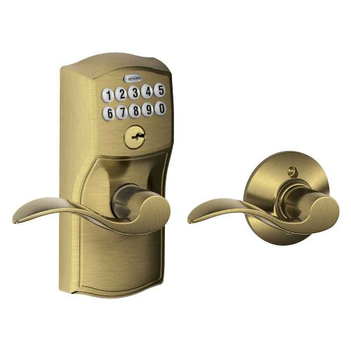 Schlage Keypad Lever with Camelot Trim and Accent Lever with Auto Lock - Antique Brass