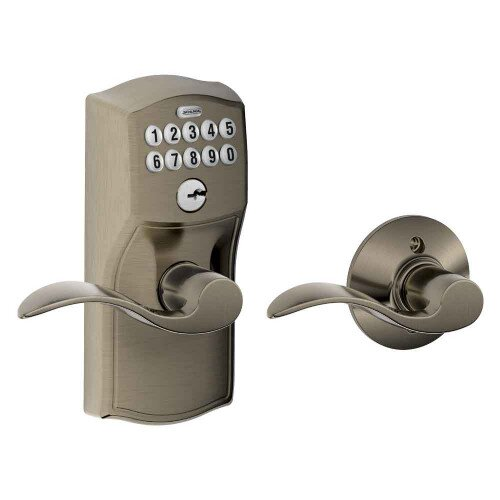 Schlage Keypad Lever with Camelot Trim and Accent Lever with Auto Lock - Antique Pewter