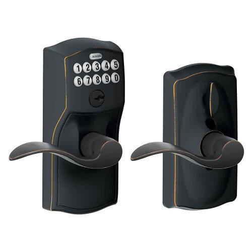 Schlage Keypad Lever with Camelot Trim and Accent Lever with Flex Lock - Aged Bronze