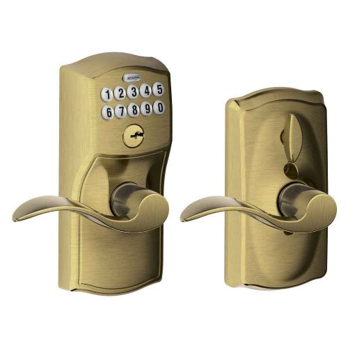 Schlage Keypad Lever with Camelot Trim and Accent Lever with Flex Lock - Antique Brass