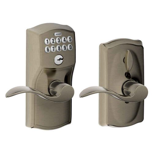 Schlage Keypad Lever with Camelot Trim and Accent Lever with Flex Lock - Antique Pewter