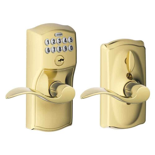 Schlage Keypad Lever with Camelot Trim and Accent Lever with Flex Lock - Bright Brass