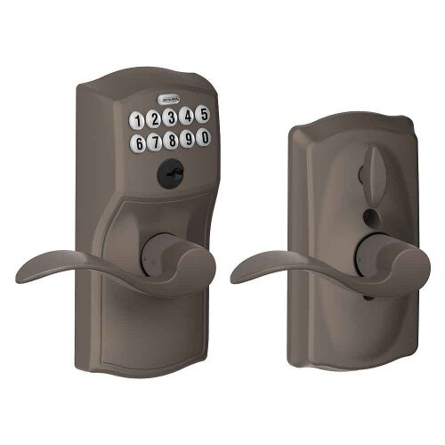 Schlage Keypad Lever with Camelot Trim and Accent Lever with Flex Lock - Oil Rubbed Bronze