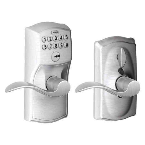 Schlage Keypad Lever with Camelot Trim and Accent Lever with Flex Lock - Satin Chrome
