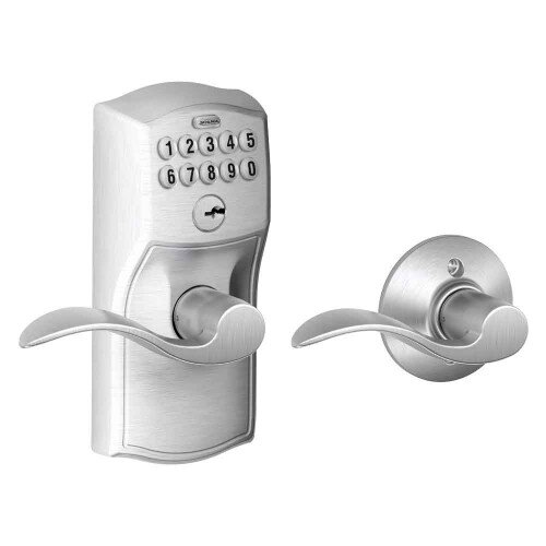 Schlage Keypad Lever with Camelot Trim and Accent Lever with Auto Lock - Satin Chrome