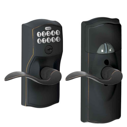 Schlage Connected Keypad Lever with Camelot Trim and Accent Lever - Aged Bronze
