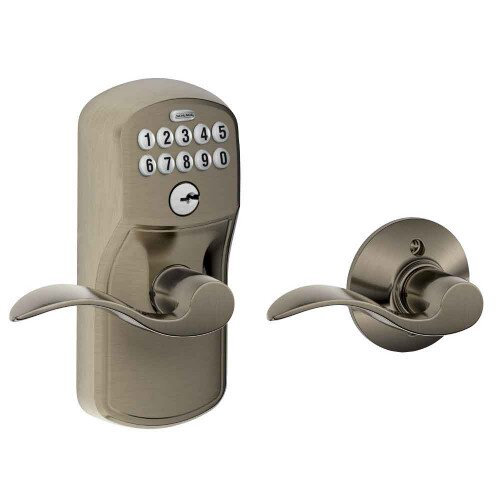 Schlage Keypad Lever with Plymouth Trim and Accent Lever with Auto Lock - Antique Pewter