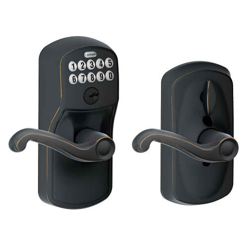 Schlage Keypad Lever with Plymouth Trim and Flair Lever with Flex Lock - Aged Bronze