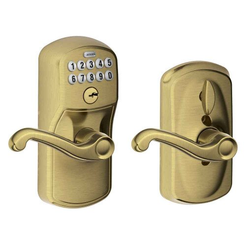 Schlage Keypad Lever with Plymouth Trim and Flair Lever with Flex Lock - Antique Brass