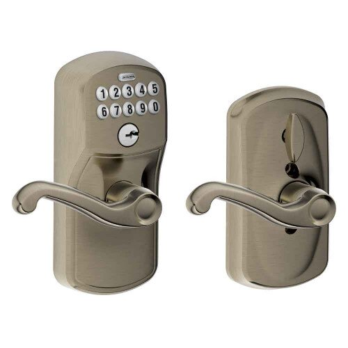 Schlage Keypad Lever with Plymouth Trim and Flair Lever with Flex Lock - Antique Pewter