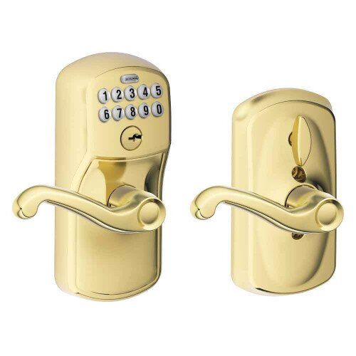Schlage Keypad Lever with Plymouth Trim and Flair Lever with Flex Lock - Bright Brass