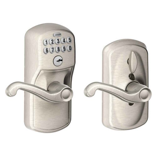 Schlage Keypad Lever with Plymouth Trim and Flair Lever with Flex Lock - Satin Nickel