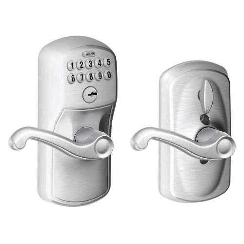 Schlage Keypad Lever with Plymouth Trim and Flair Lever with Flex Lock - Satin Chrome