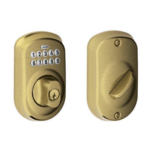 Schlage Plymouth Trim Keypad Deadbolt - Antique Brass
