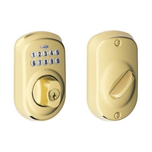 Schlage Plymouth Trim Keypad Deadbolt - Bright Brass