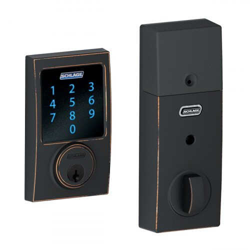 Schlage Connect Touchscreen Deadbolt with Alarm with Century Trim - Aged Bronze