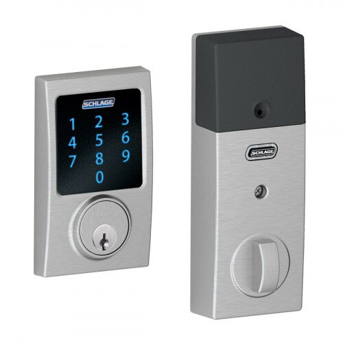 Schlage Connect Touchscreen Deadbolt with Alarm with Century Trim - Satin Chrome
