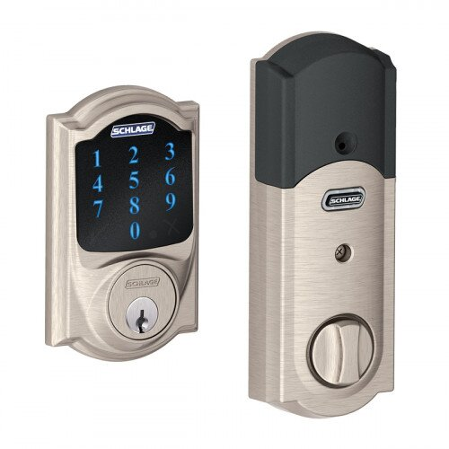 Schlage Connect Touchscreen Deadbolt with Alarm with Camelot Trim - Satin Nickel