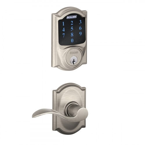 Schlage Connect Touchscreen Deadbolt with Alarm with Camelot Trim Paired with Accent Lever with Camelot Trim - Satin Nickel