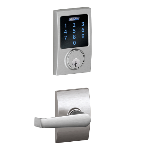 Schlage Connect Touchscreen Deadbolt with Alarm with Century Trim Paired with Elan Lever with Century Trim
