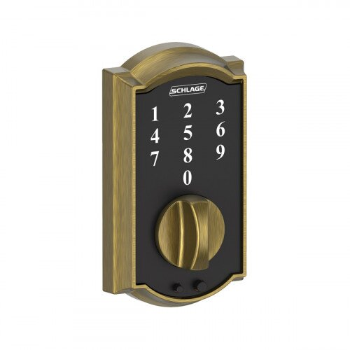 Schlage Touch Keyless Touchscreen Deadbolt with Camelot Trim - Antique Brass