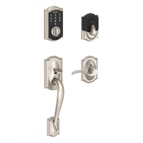 Schlage Touch Keyless Touchscreen Deadbolt with Camelot Trim Paired with Camelot Handleset and Accent Lever with Camelot Trim - Right Hand - Satin Nickel