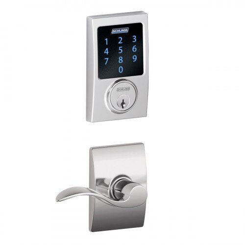 Schlage Connect Touchscreen Deadbolt with Alarm with Century Trim Paired with Accent Lever with Century Trim - Bright Chrome