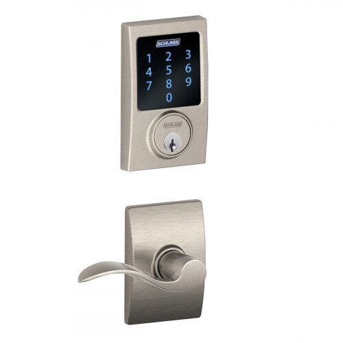 Schlage Connect Touchscreen Deadbolt with Alarm with Century Trim Paired with Accent Lever with Century Trim - Satin Nickel
