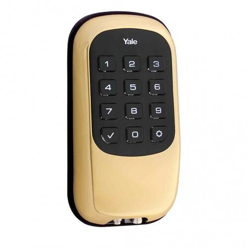 Yale Key Free Push Button Deadbolt B1L - Polished Brass
