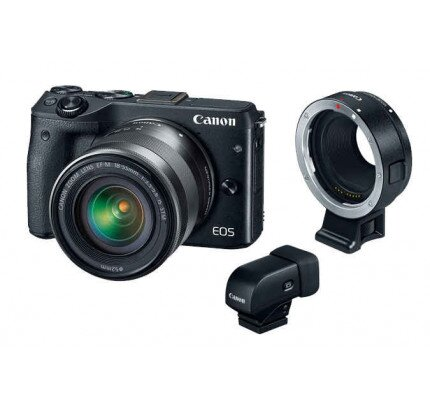 Canon EOS M3 EF-M 18-55 with Mount Adapter EF- EOS M and Electronic Viewfinder EVF-DC1 Mirrorless Camera