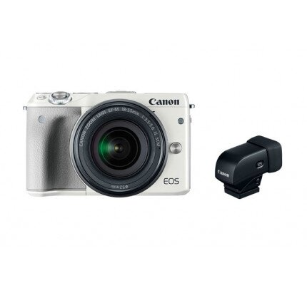 Canon EOS M3 EF-M 18-55 White with Electronic Viewfinder EVF-DC1 Mirrorless Camera