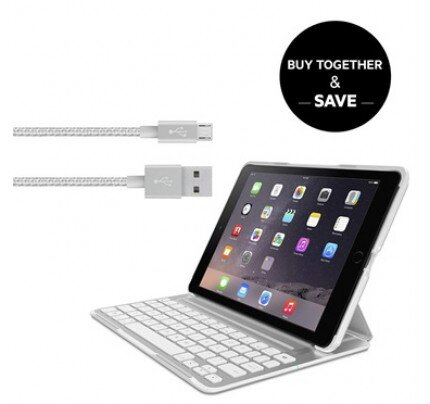 Belkin QODE Ultimate Pro Keyboard Case in White for iPad Air 2 + Metallic Micro-USB Cable Bundle (App Enabled)
