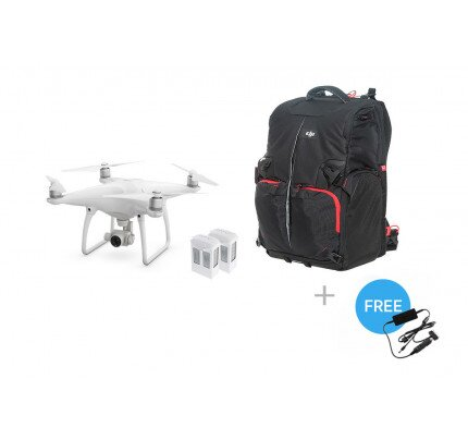 DJI Phantom 4 + Two Extra Batteries + Phantom Backpack + Car Charger