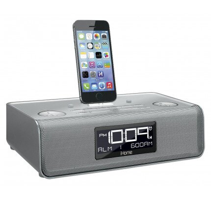 iHome iDL43 Dual Charging Stereo FM Clock Radio with Lightning Dock and USB Charge/Play for iPad/iPhone/iPod