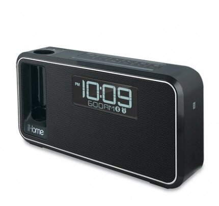 iHome iKN105 Dual Charging Bluetooth Stereo Alarm Clock Radio/ Speakerphone with NFC, Portable Removable Power