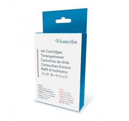 Livescribe Echo & Sky Ink Refills, Medium Point, Red Fine Point, 5-Pack